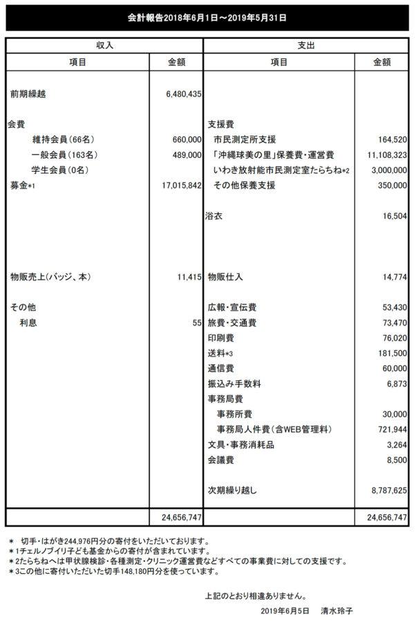 会計報告2018年6月1日~2019年5月31日